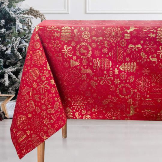 Mantel rojo navideño de gran calidad bordado en hilo de color oro.