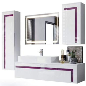 muebles de baño con lavabo y columna y espejo