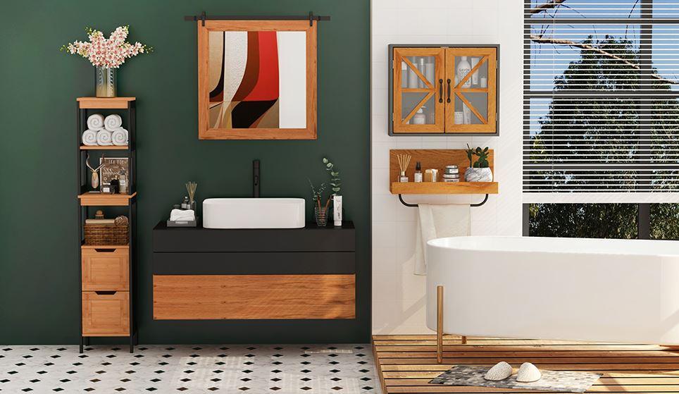 Cuarto de baño completo decorado con muebles de madera de estilo industrial económicos. ¡Es una fotografía preciosa de un baño rustico industrial!