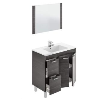 Mueble para baño y cuarto de aseo con 2 Puertas y 2 cajones con lavamanos y espejo incluido.