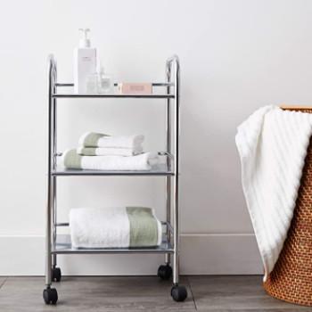 Accesorios de baño: Carrito auxiliar con ruedas de acero cromado.