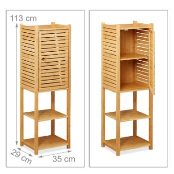 Una columna de baño auxiliar fabricada con madera de bambú, que incluye repisas y armario de baño.