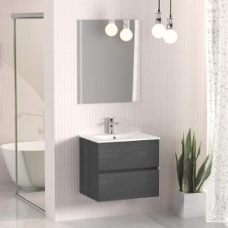 modulo de baño bajo lavabo suspendido en color gris ceniza, con lavabo y espejo incluidos.