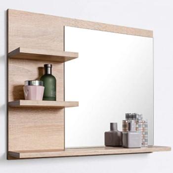 Accesorios de baño: Espejo de aseo con repisas incluidas.