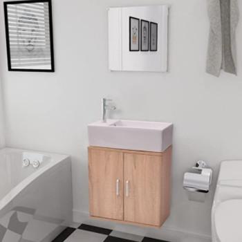 Mueble de baño suspendido de fondo reducido, con lavabo reducido y espejo incluido. Color madera.