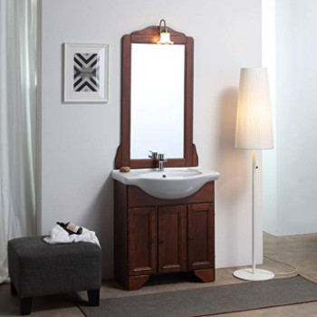 mueble de baño rústico de estilo antiguo. Conjunto completo mediano.