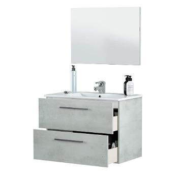 Un modulo de baño con dos cajones abatibles, lavamanos y espejo.