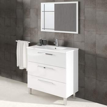 conjunto de baño con patas, mueble blanco de fondo reducido, lavabo y espejo de baño.