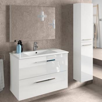 Pack completo: Conjunto muebles de baño lacados en blanco con lavabo, columna y espejo.