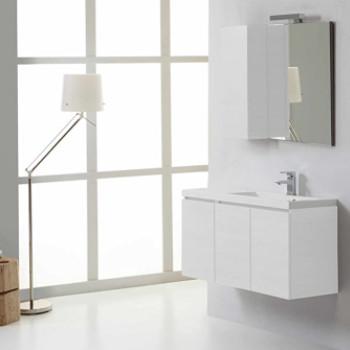 Comprar juego de muebles de baño modernos en blanco con espejo y lavabo.
