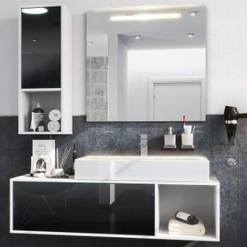 conjunto de muebles de baño con lavabo, columna y espejo al mejor precio económicos.